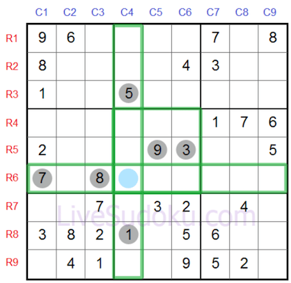 Highlighted cells in free sudoku online grid of 9x9 showing 2 horizontal and perpendicular lines and the 3x3 group crossing each other when several numbers inserted