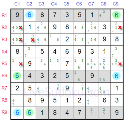 Three rows highlighted in a sudoku grid marked with pencil marks on livesudoku.
