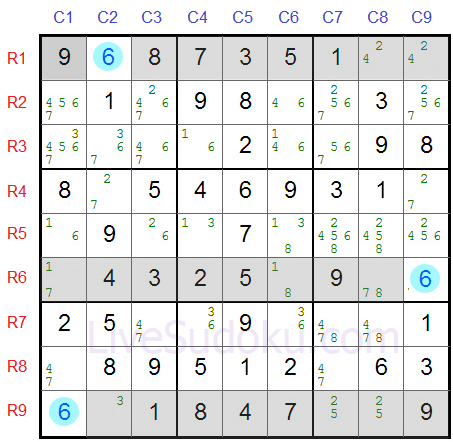 Sudoku Swordfish Example