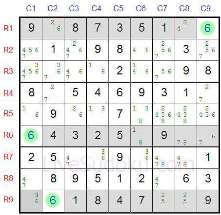 Sudoku Swordfish Example