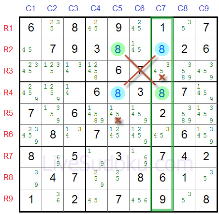 Sudoku X Wing Example