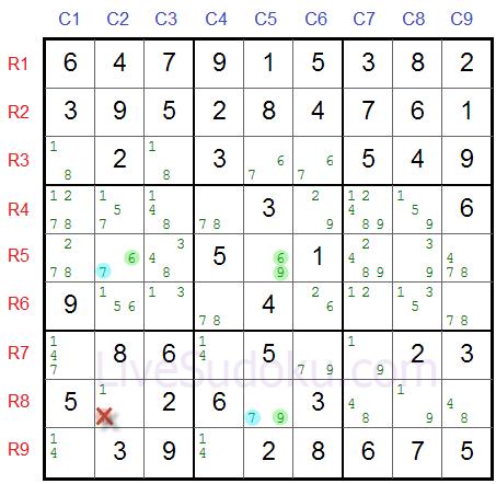Sudoku XY Wing Example