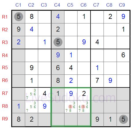Sudoku Locked Candidates type 1