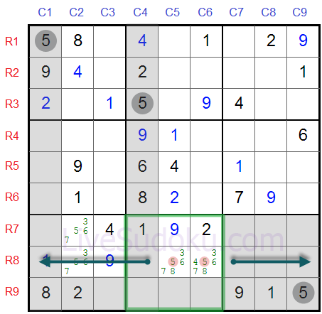 Sudoku Locked Candidates type 1