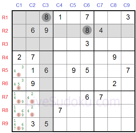 Sudoku Locked Candidates type 1 - Second Example
