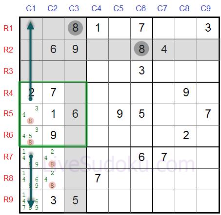 Sudoku Locked Candidates type 1 - Second Example