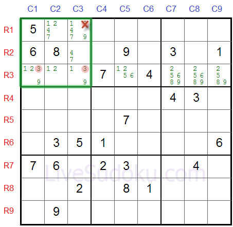 Sudoku Locked Candidates type 2
