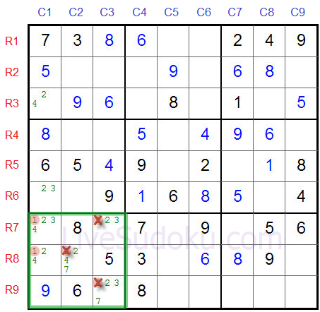 Sudoku Locked Candidates type 2 - Second Example